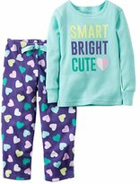 Carter's Girls 2 Piece Cozy Soft Flannel Pajamas Shirt and Pant Sleepwear Set