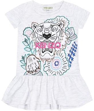Kenzo Kids Baby Tiger Logo cotton-blend dress