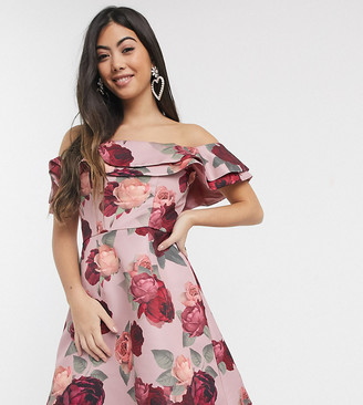 Chi Chi London mini dress with double frill in taupe based floral
