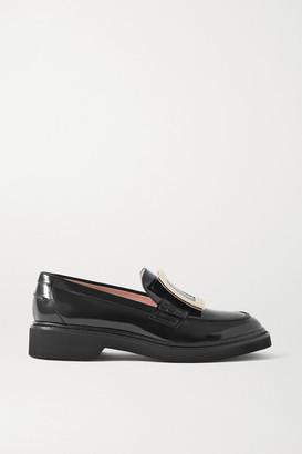 Roger Vivier Viv Ranger Embellished Patent-leather Loafers - Black