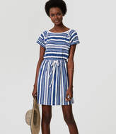 LOFT Beach Striped Cutout Drawstring Tee Dress