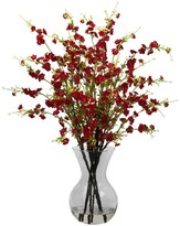 Nearly Natural Red Cherry Blossoms with Vase Arrangement
