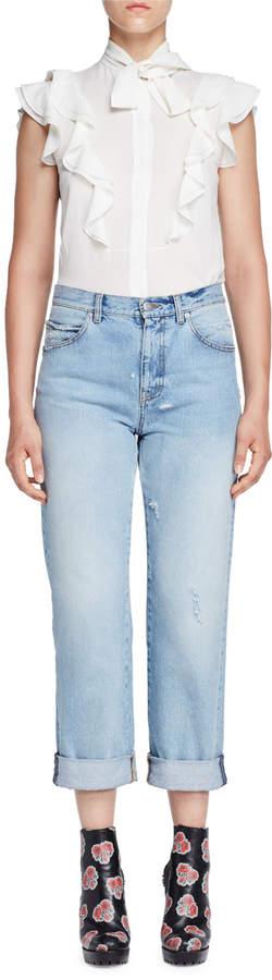 Alexander McQueen Cuffed Denim Boyfriend Jeans, Light Denim
