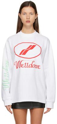 we11done White Logo Long Sleeve T-Shirt