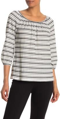 Max Studio 3/4 Sleeve Striped Knit Top