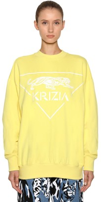 Krizia Oversized Logo Printed Cotton Sweatshirt