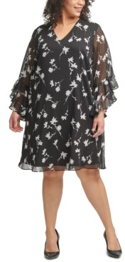 Calvin Klein Size Floral-Print Textured-Chiffon Dress