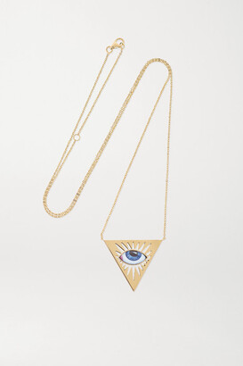 Lito Tu Es Partout 14-karat Gold And Enamel Necklace