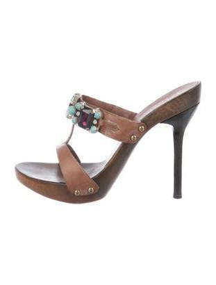 Valentino Leather Embellished Sandals Brown