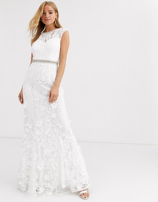Lipsy lace with embellished maxi dress in ivory-White