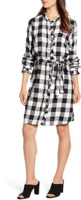 Lucky Brand Mackenzie Buffalo Plaid Long Sleeve Cotton Blend Shirtdress