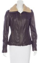 MICHAEL Michael Kors Faux Fur-Trimmed Leather Jacket w/ Tags
