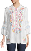 Johnny Was Bethanie 3/4-Sleeve Embroidered Tunic