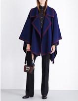 Burberry Contrast stripe wool cape