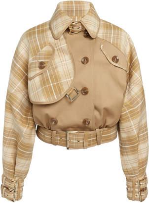 Zimmermann Sabotage Checked Cropped Cotton-Blend Jacket Size: 0