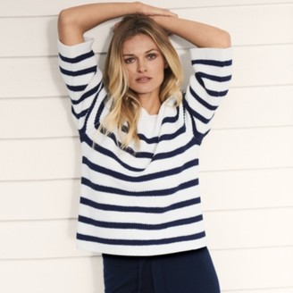 The White Company Cotton-Rich Ribbed Stripe Jumper , Navy/White, Extra Small
