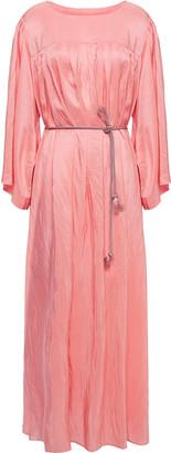Forte Forte Forte_forte Pompelmo Rosa Belted Pleated Crinkled-silk Midi Dress