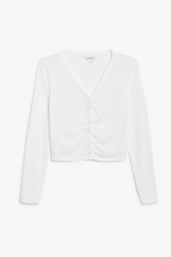 Thumbnail for your product : Monki Ribbed crop cardigan
