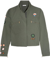Tomas Maier Appliquéd Cotton-blend Poplin Jacket - Army green