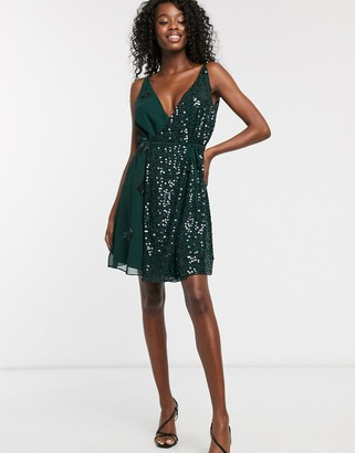 French Connection cami sequin mini dress-Green