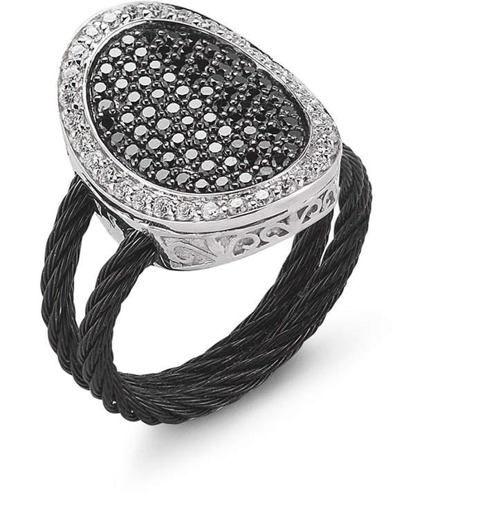Alor 18k Two-Tone Diamond Oval Ring, Size 6.5