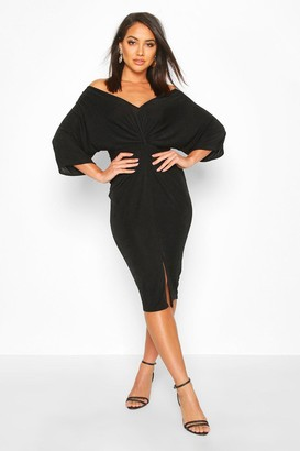 boohoo Slinky Off Shoulder Twist Midi Dress