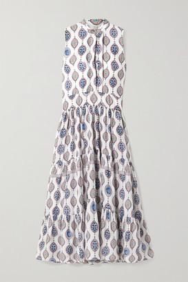 Chloé Tiered Printed Silk Crepe De Chine Midi Dress - White