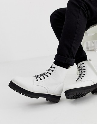 Asos Design DESIGN lace up boot in white faux leather with raised chunky sole