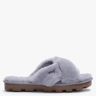 UGG Fuzzette Soft Amethyst Shearling Cross Over Slippers