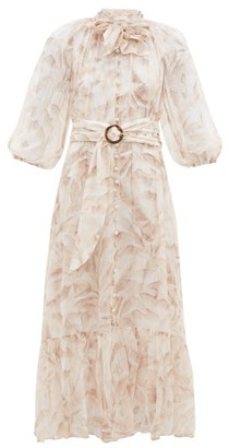 Zimmermann Super Eight Palm Tree-print Belted Chiffon Dress - Cream Print