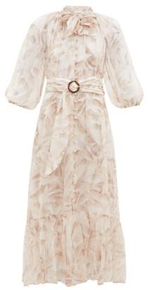 Zimmermann Super Eight Palm Tree-print Belted Chiffon Dress - Womens - Cream Print