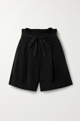 Reformation Castel Belted Pleated Tencel Lyocell Shorts - Black