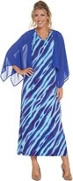 Bob Mackie Animal Print Maxi Dress with Solid Woven Shrug