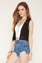 Forever 21 FOREVER 21+ Embroidered Open-Front Vest