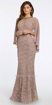 Camille La Vie Sequin Lace Cape Evening Dress