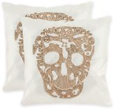 Safavieh Punk Skull 18-Inch Square Throw Pillows in Gold (Set of 2)