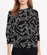 Lauren Ralph Lauren Boat Neck Dolman Sleeve Geometric Print Cotton Blend Sweater