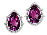 Tommaso design Studio Tommaso Design Pear Shape 10x7mm Genuine Rhodolite and Diamond Earrings 14k