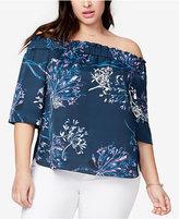 Rachel Roy Trendy Plus Size Printed Off-The-Shoulder Top
