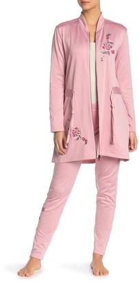 Josie Floral Embroidered Zip Front Fleece Jacket