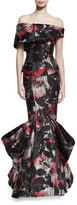 Zac Posen Off-the-Shoulder Printed Mermaid Gown, Multi Cherry Floral