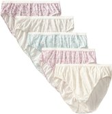 Just My Size Women's 5-Pack Cotton Lace Effects Hi-Cut Panty