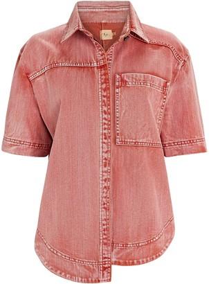 Aje Framework Short Sleeve Denim Shirt