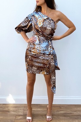 Oasis Steffy Animal-Print Satin One-Shoulder Dress