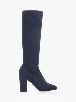 Dune Sereinity Block Heel Knee High Boots, Navy Suede
