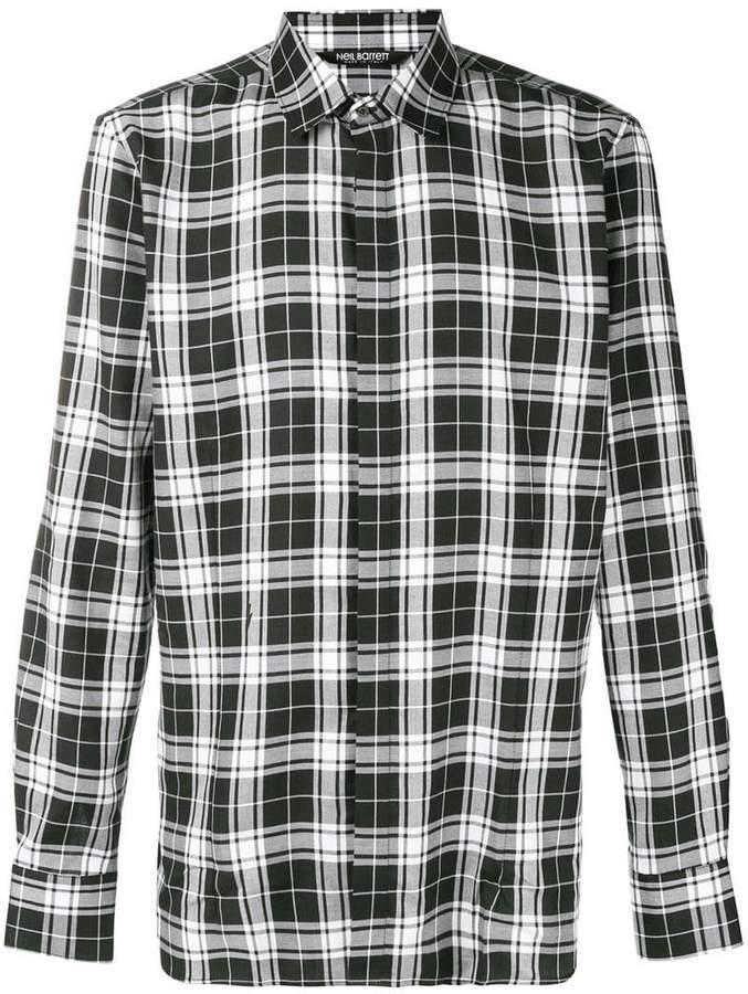 Neil Barrett tartan pattern shirt