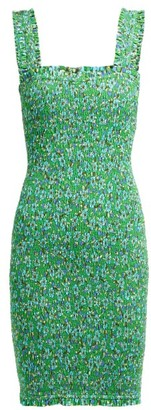 Rhode Resort Jasmine Floral-print Shirred Cotton Mini Dress - Womens - Green Print