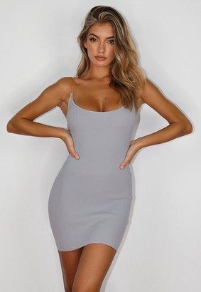 Missguided White Transparent Strap Knit Mini Dress
