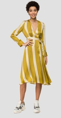 Replay Striped Dress With Crossing - Small