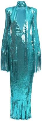 Turquoise Fringed Sequin Dress